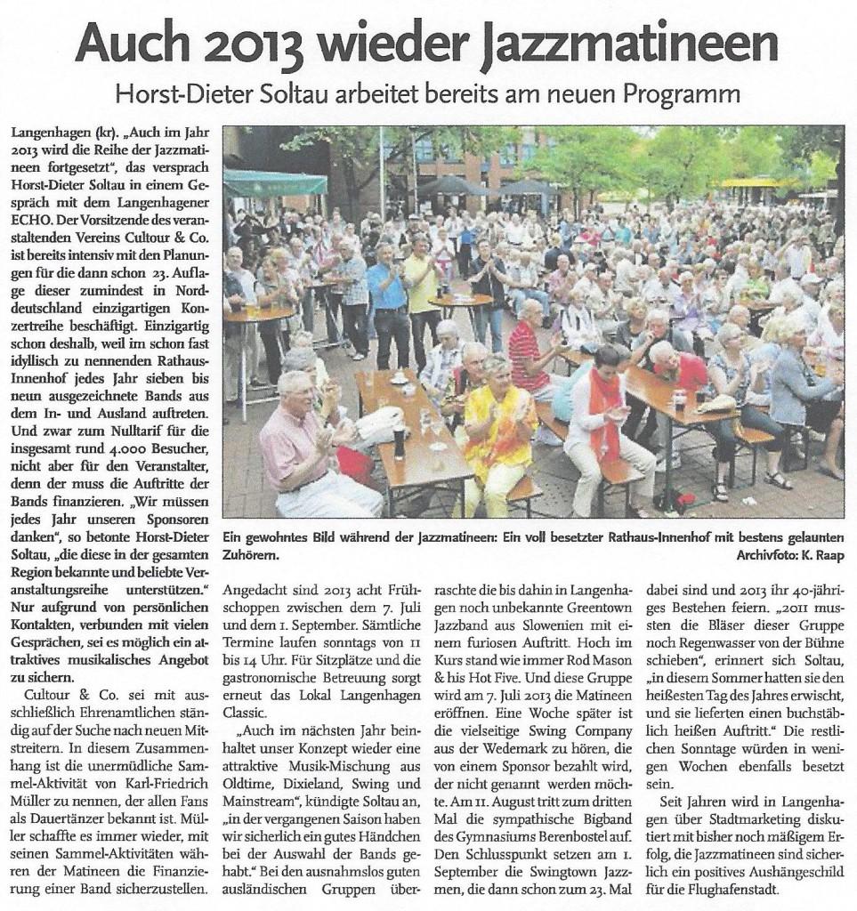 Auch 2013 wieder Jazzmatineen