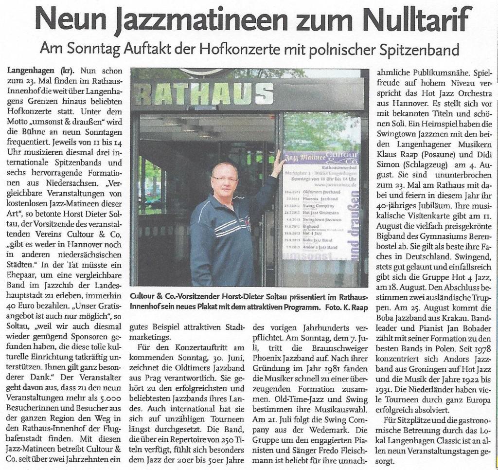 Neun Jazzmatineen zum Nulltarif
