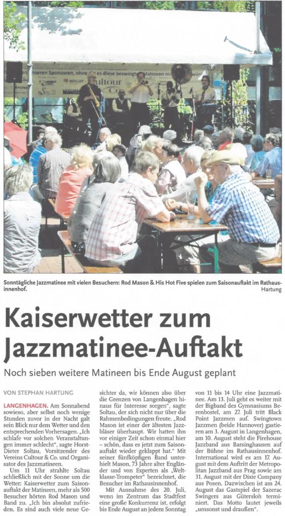 Kaiserwetter zum Auftakt der Jazzmatineen