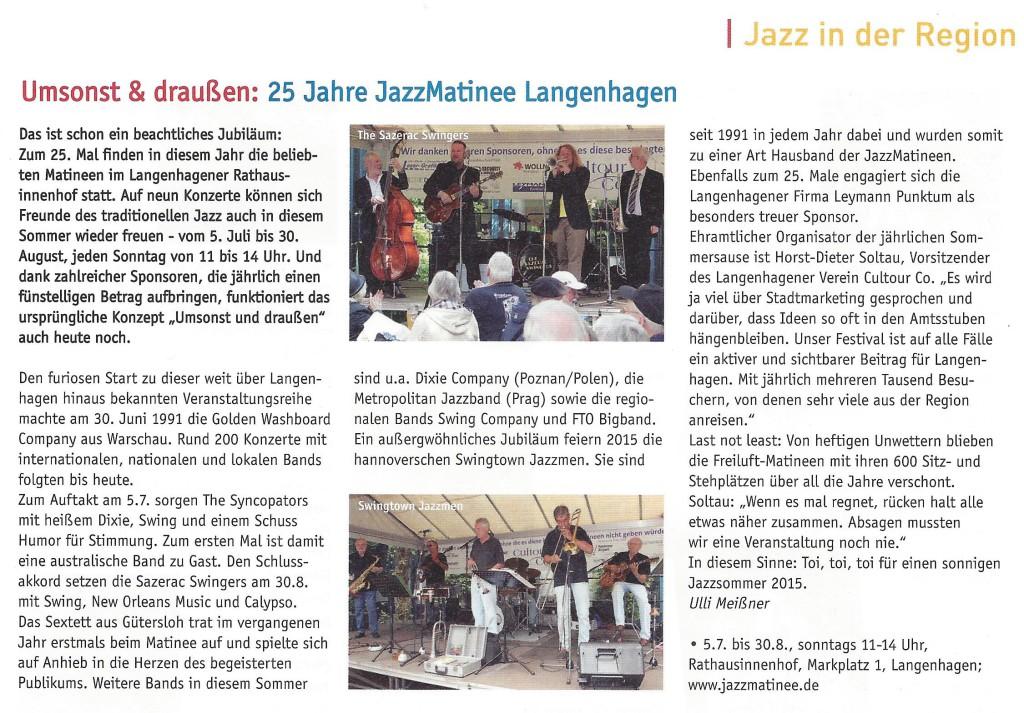 Umsonst & draußen - 25 Jahre JazzMatinee Langenhagen