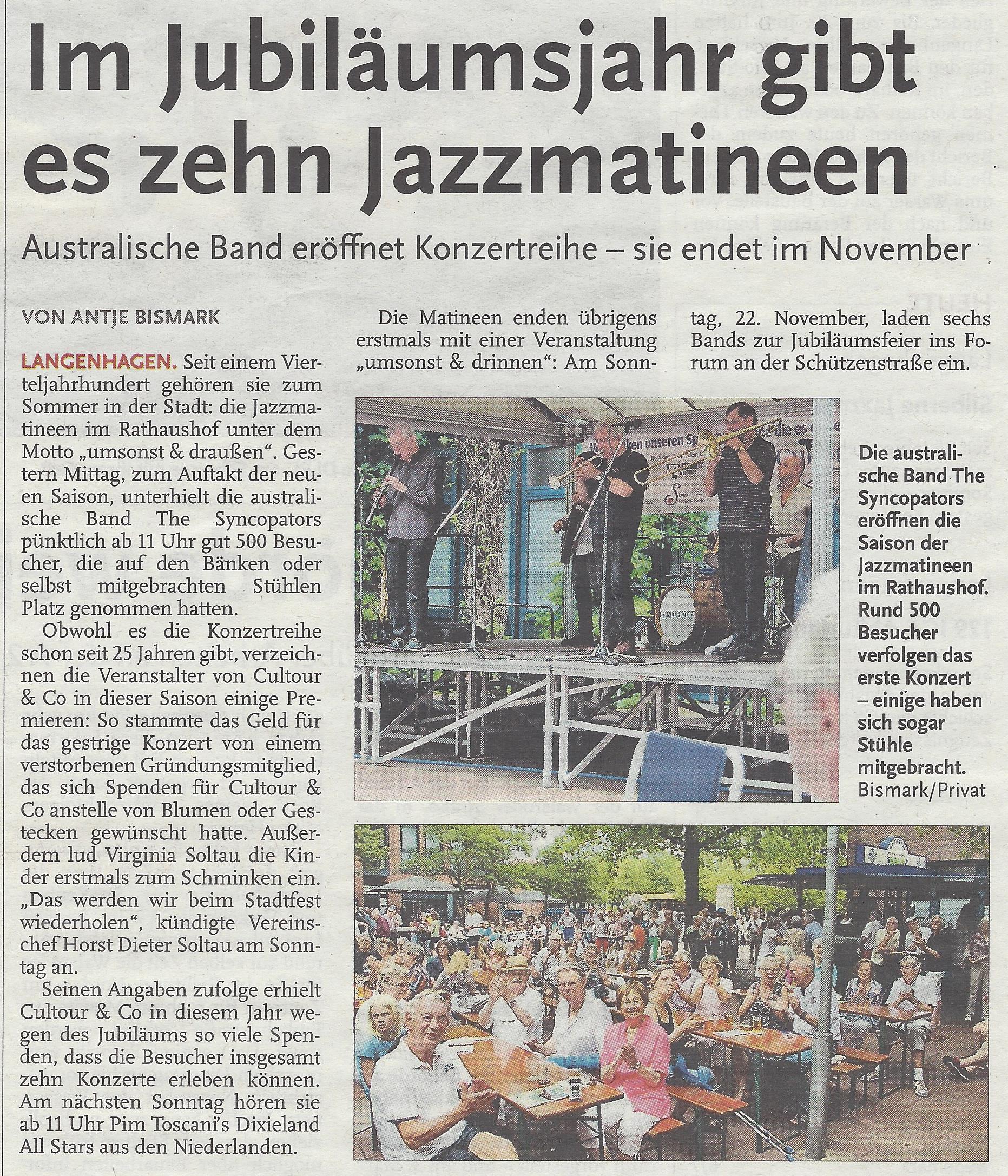 Im Jubiläumsjahr gibt es zehn Jazzmatineen