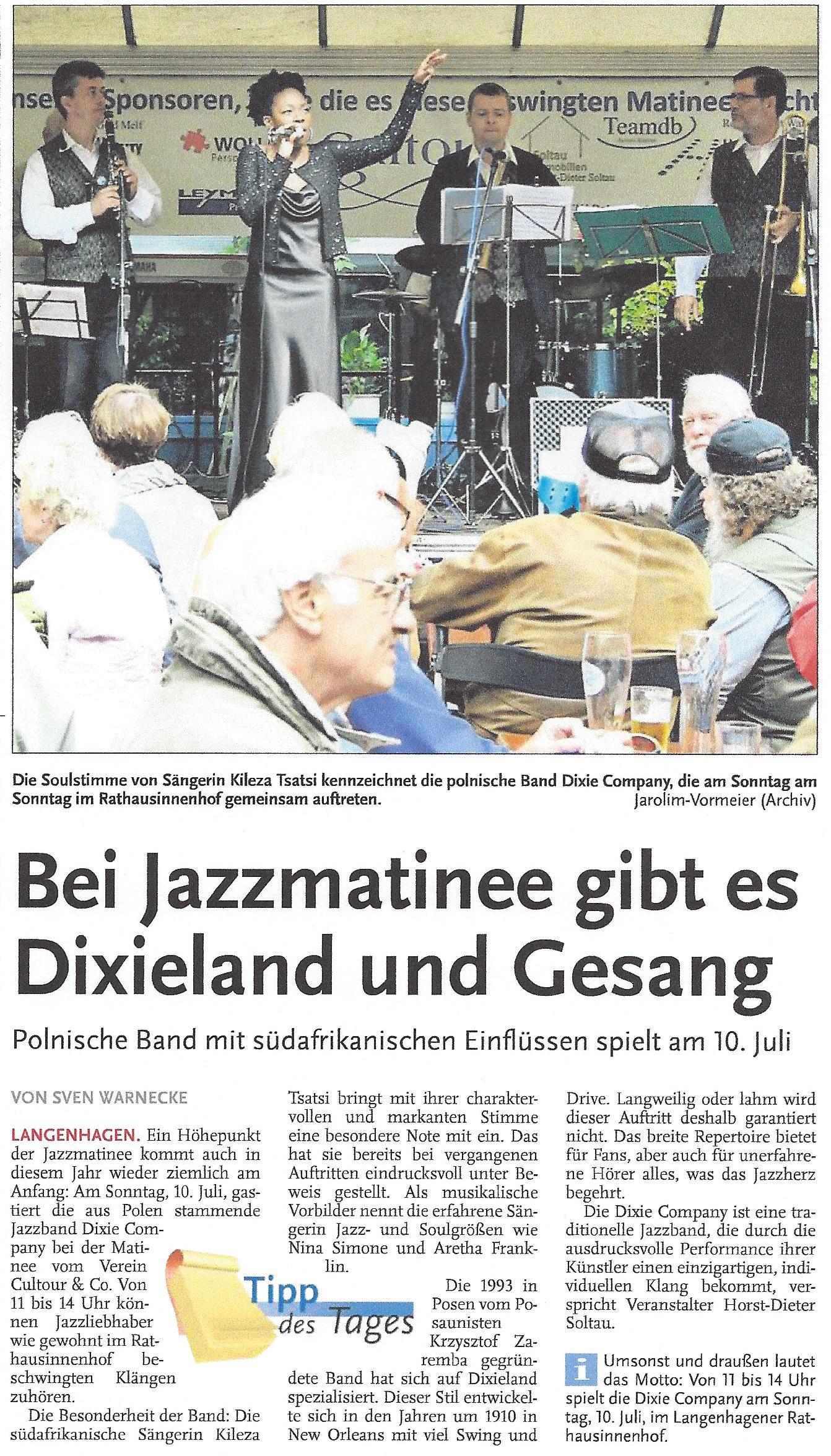 Bei Jazzmatinee gibt es Dixieland und Gesang