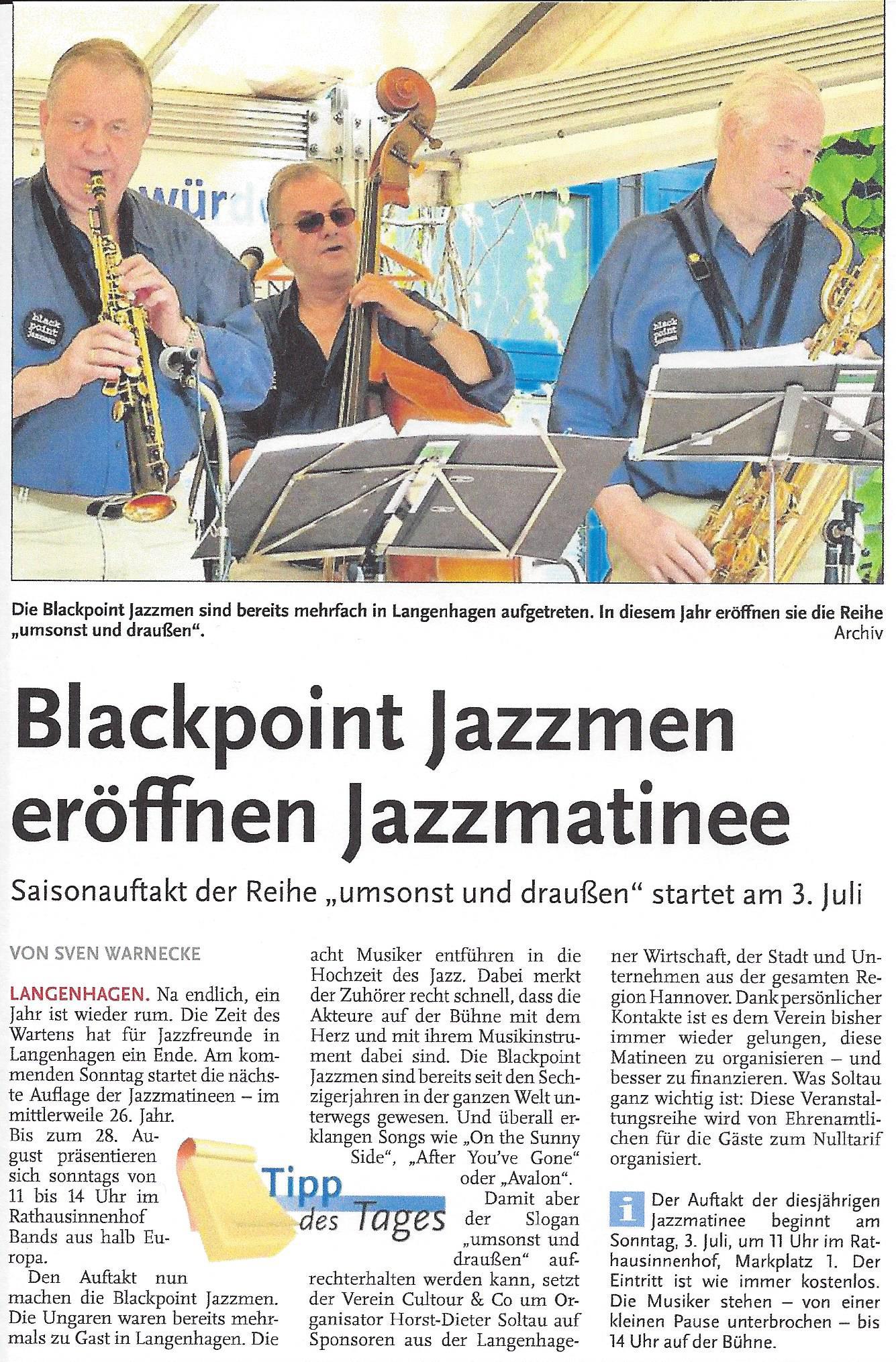 Blackpoint Jazzmen eröffnen Jazzmatinee