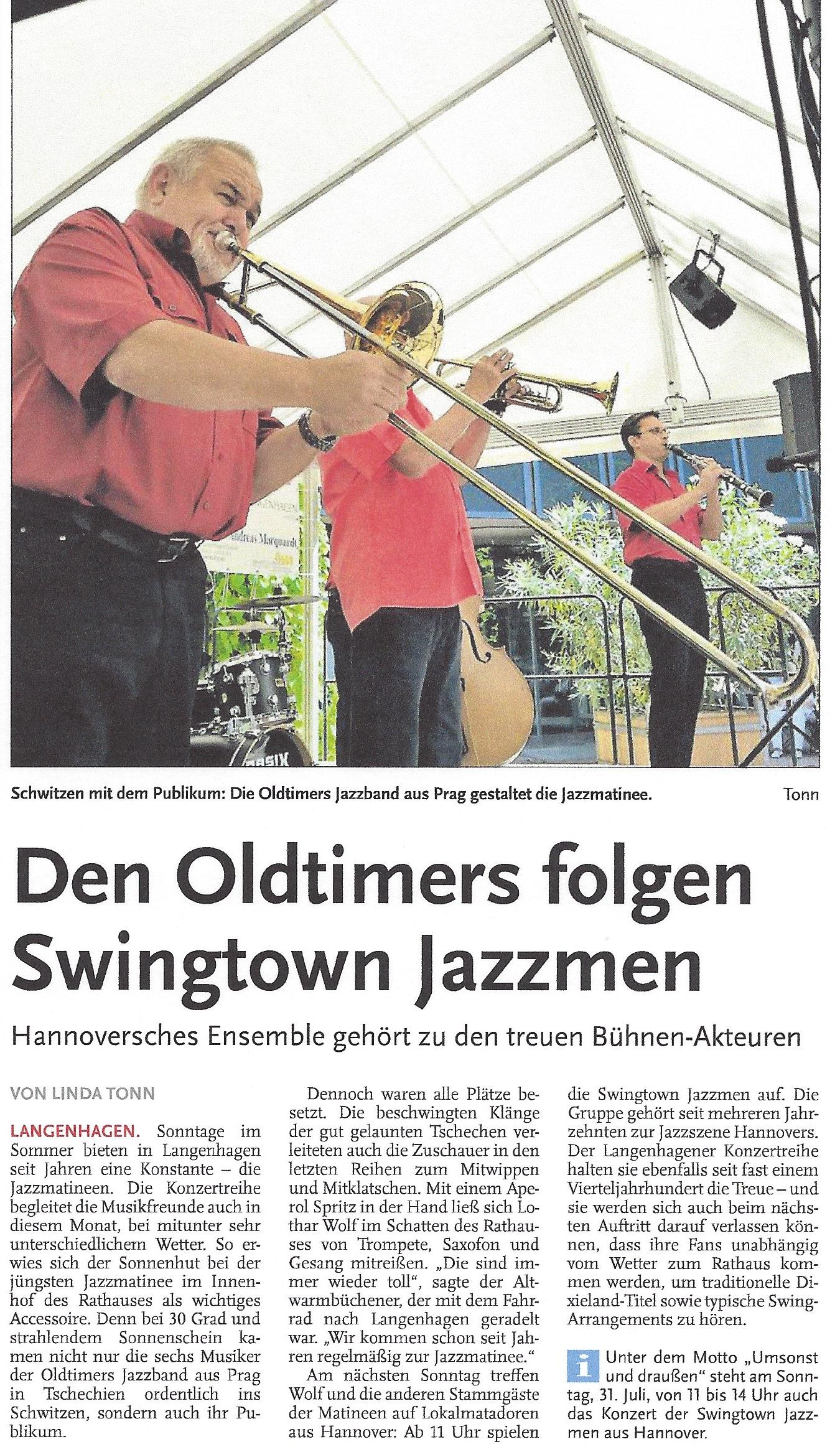 Den Oldtimers folgen Swingtown Jazzmen
