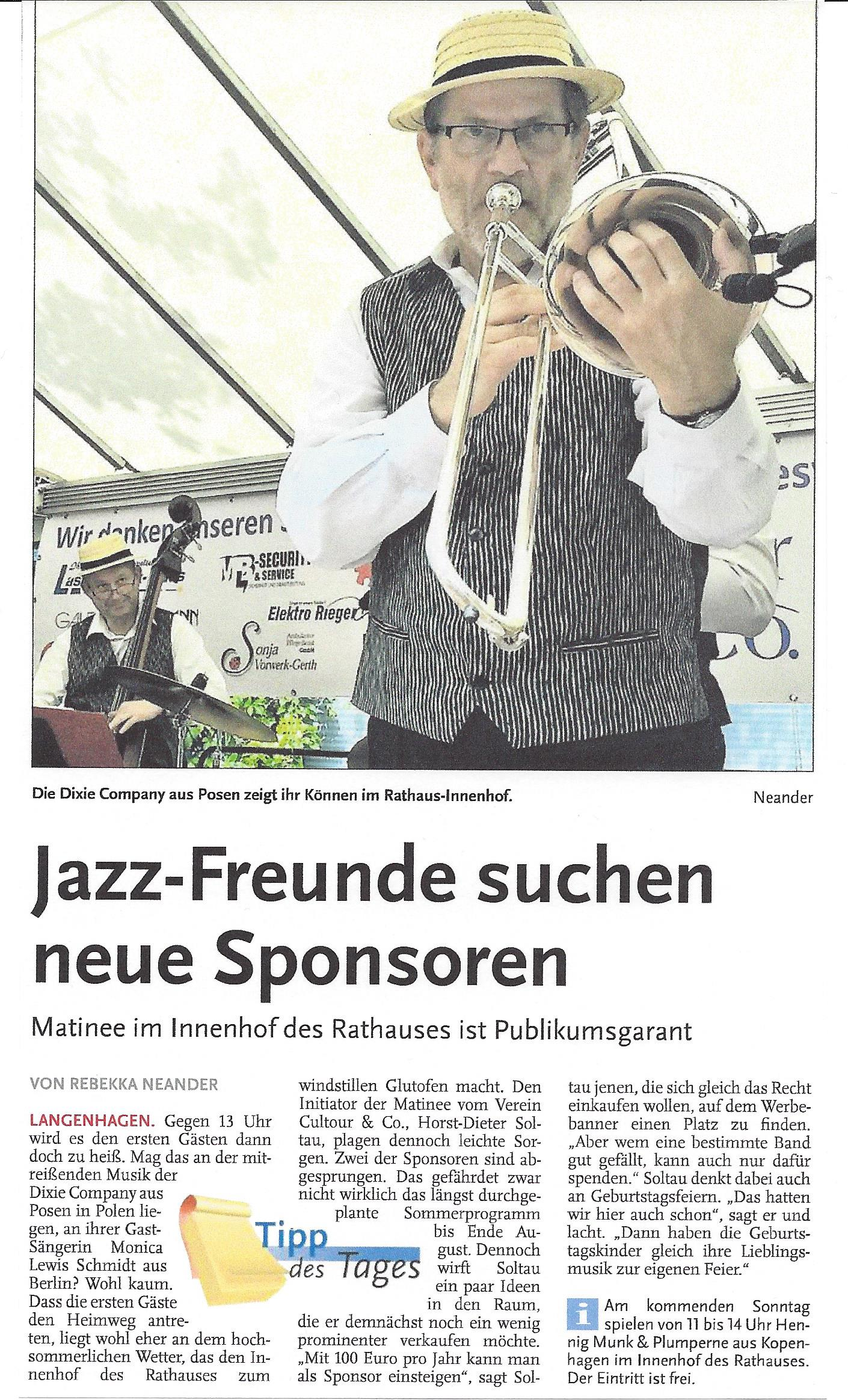 Jazz-Freunde suchen neue Sponsoren
