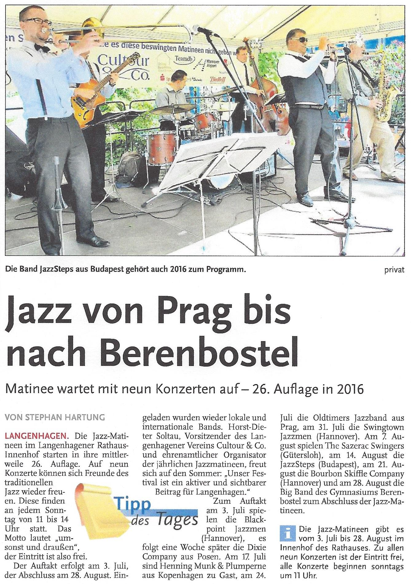 Jazz von Prag bis nach Berenbostel
