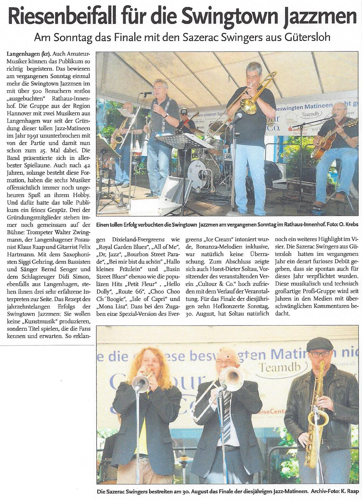 Riesenbeifall für die Swingtown Jazzmen