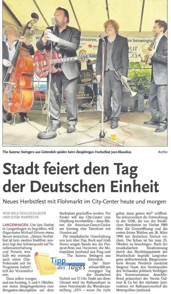 Stadt feiert den Tag der Deutschen Einheit